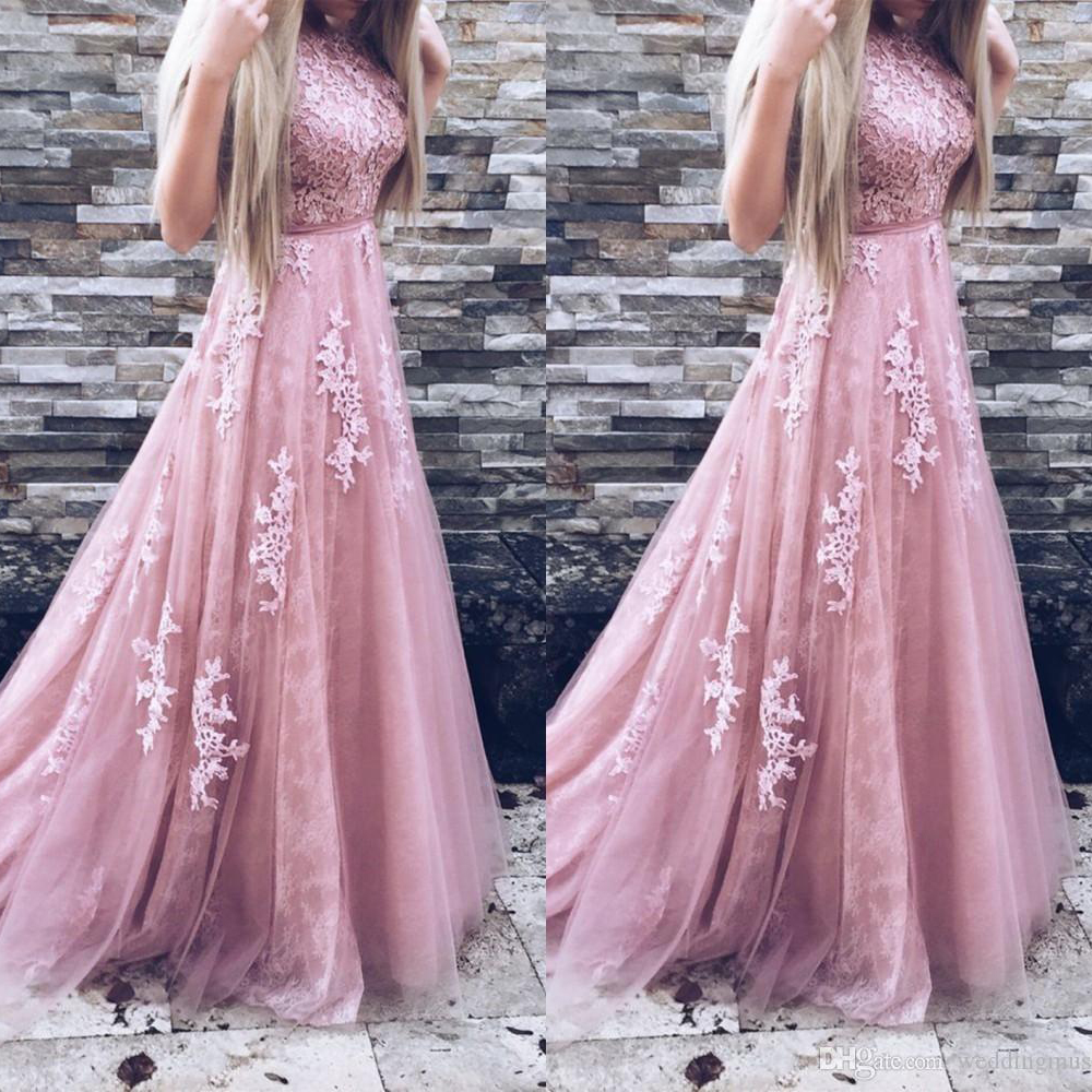 2019   bridesmaid     dresses   pink Appliques Scoop Appliques Sash Sweep Train Full-Length for wedding party