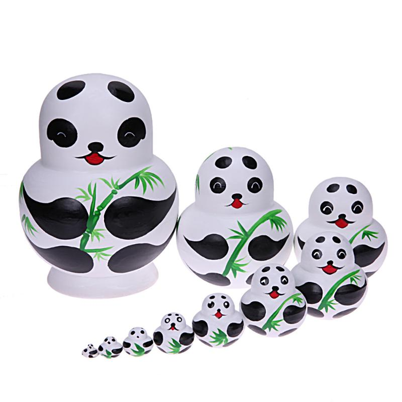 10pcs Wood Big Belly Panda Craft Nesting Matryoshka Dolls Russian Babushka Matryoshka Dolls Toys Kids Collection Toy Gifts image