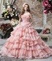 Rosa 2017 vestidos quinceanera bola vestidos scalloped vestidos princesa vestidos para 15 anos vestidos sweet 16 ano de 15 años