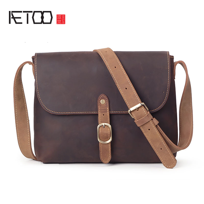 84b364b981 AETOO Men s leather hit color shoulder bag lady mad horse leather Messenger  bag large capacity A4 file package