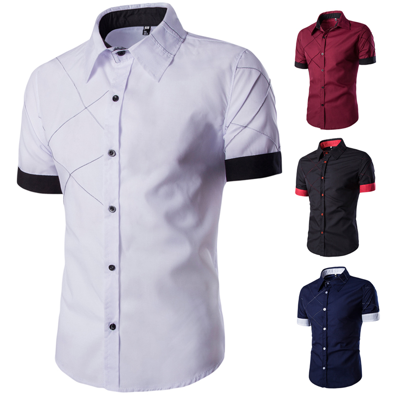 Summer Men's White Shirt Men's Casual Shirts Turn-Down Collar Short Sleeves Shirt Solid Fashion Male's Tops Shirt Man D40