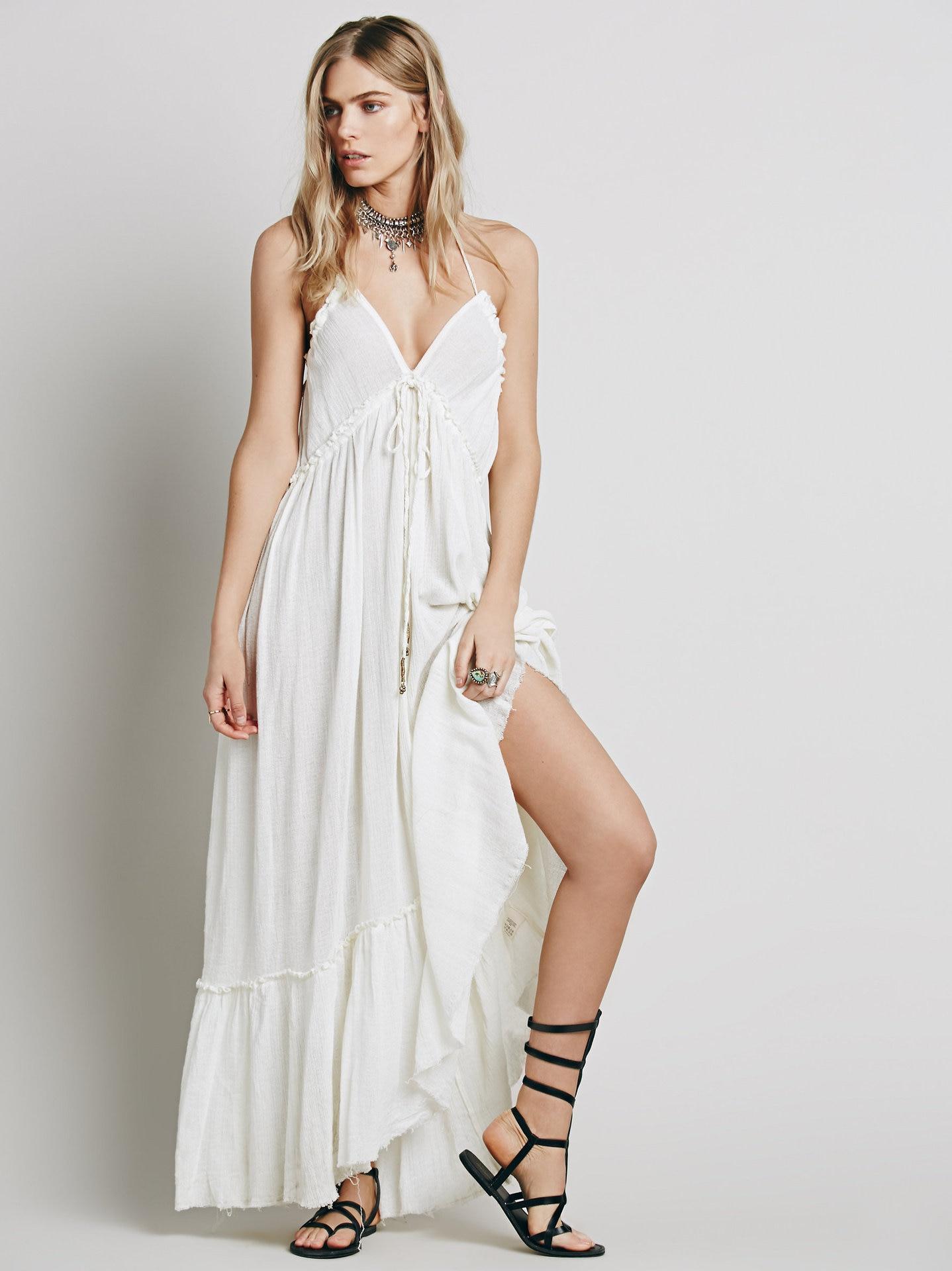 Beauty Backless V-Neck Long Dress 2