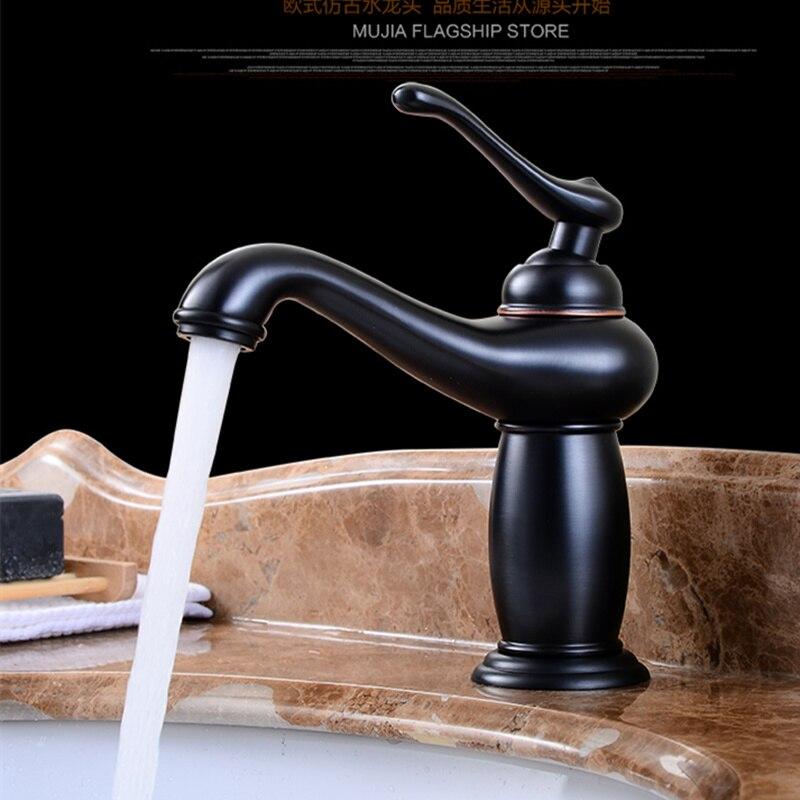 Robinets de bassin noir huile laiton brossé robinet salle de bain poignée unique pont monté chaud/froid évier mélangeur robinet d'eau en cuivre massif