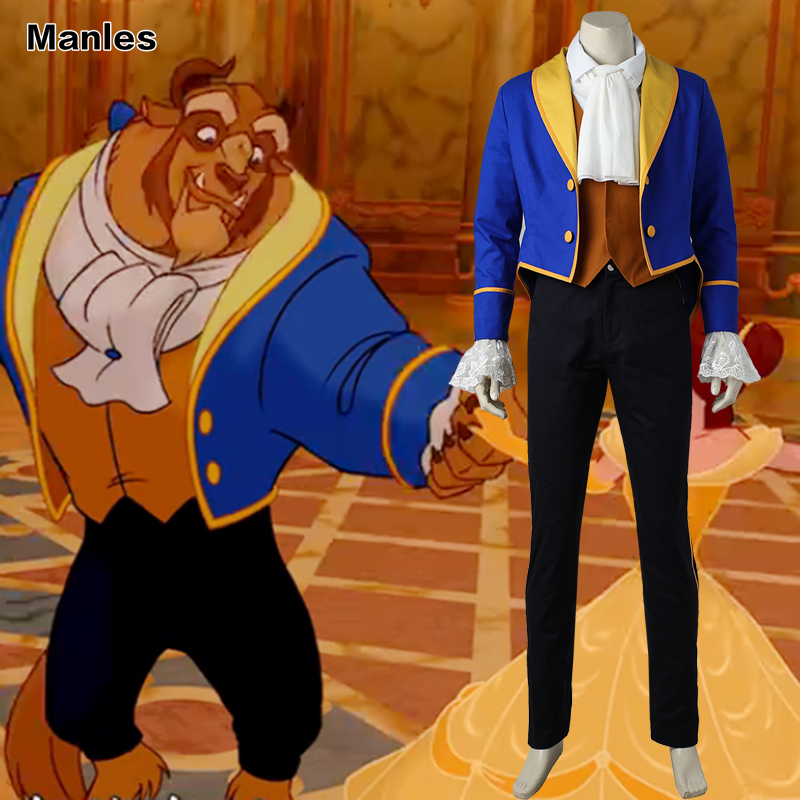 Beauty and the Beast Adam Cosplay Beast Outfit Blue Suit Cartoon Clothing Adult Men Halloween Carnival Anime Costume Full Set