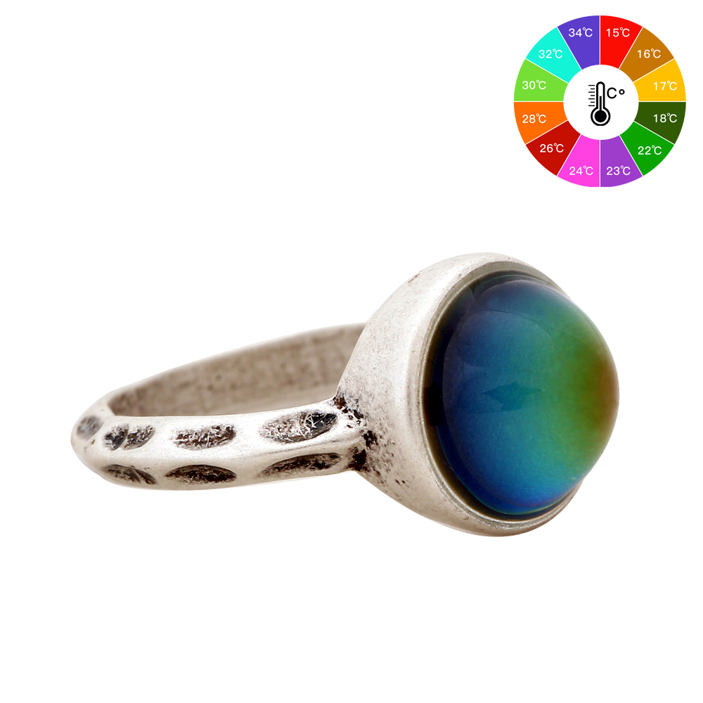 Nya modesmycken Unisexring europeisk stil Personligt mode Vintage Round Gem Retro Color Change Ring för kvinnor MJ-RS002