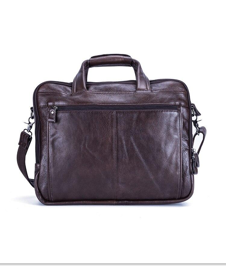Leather Men Bag Shoulder Bag Messenger Bags Handbag 15.6 Inch Laptop Briefcase Black 30cmMax Length50cm