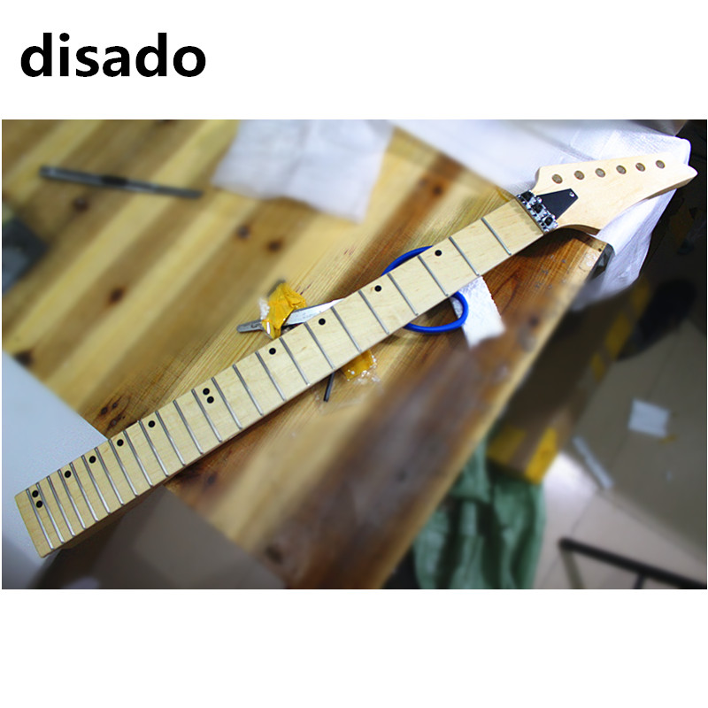 disado 24 Frets wood color maple Electric Guitar Neck maple fingerboard inlay dots glossy paint Guitar