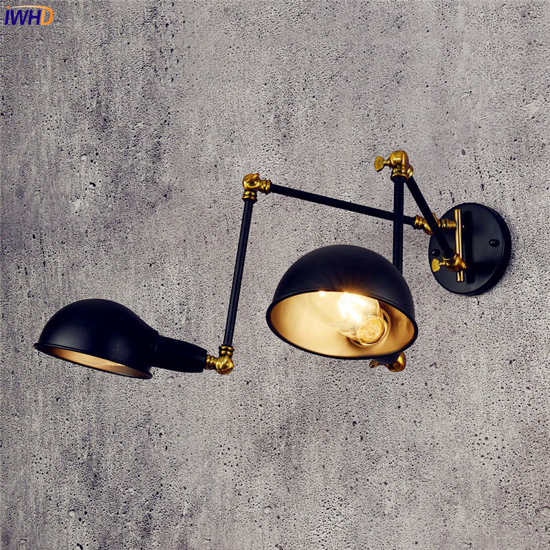 IWHD Adjustable Vintage Wall Light Fixtures 2 Heads Antique Retro Loft Industrial Swing Arm Wall Light Edison Sconce Luminaire недорого