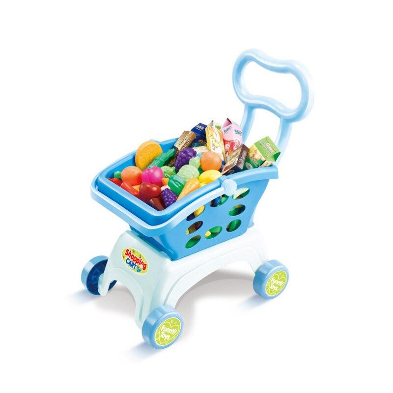 Coslplay enfants jouent maison jouets Simulation supermarché panier Mini chariots avec fruits légumes ustensiles de cuisine