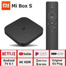 Caixa de tv xiaomi mi, box s 4k caixa de tv Cortex A53 quad core 64 bit mali 450 1000mbp android 8.1 2gb + 8gb hdmi2.0 2.4g/5.8g wifi bt4.2 caixa de tv