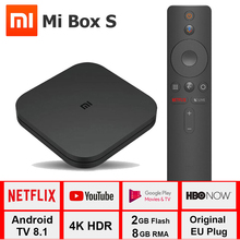 Xiao mi mi Box S 4K tv, pudełko Cortex A53 czterordzeniowy 64 bitowy Mali 450 1000Mbp Android 8.1 2GB + 8GB HD mi 2.0 2.4G/5.8G WiFi BT4.2 tv, pudełko