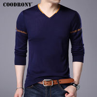 COODRONY Sweater Men Brand Clothing Autumn Winter Soft Warm Cashmere Wool Sweaters Plus Size V Neck