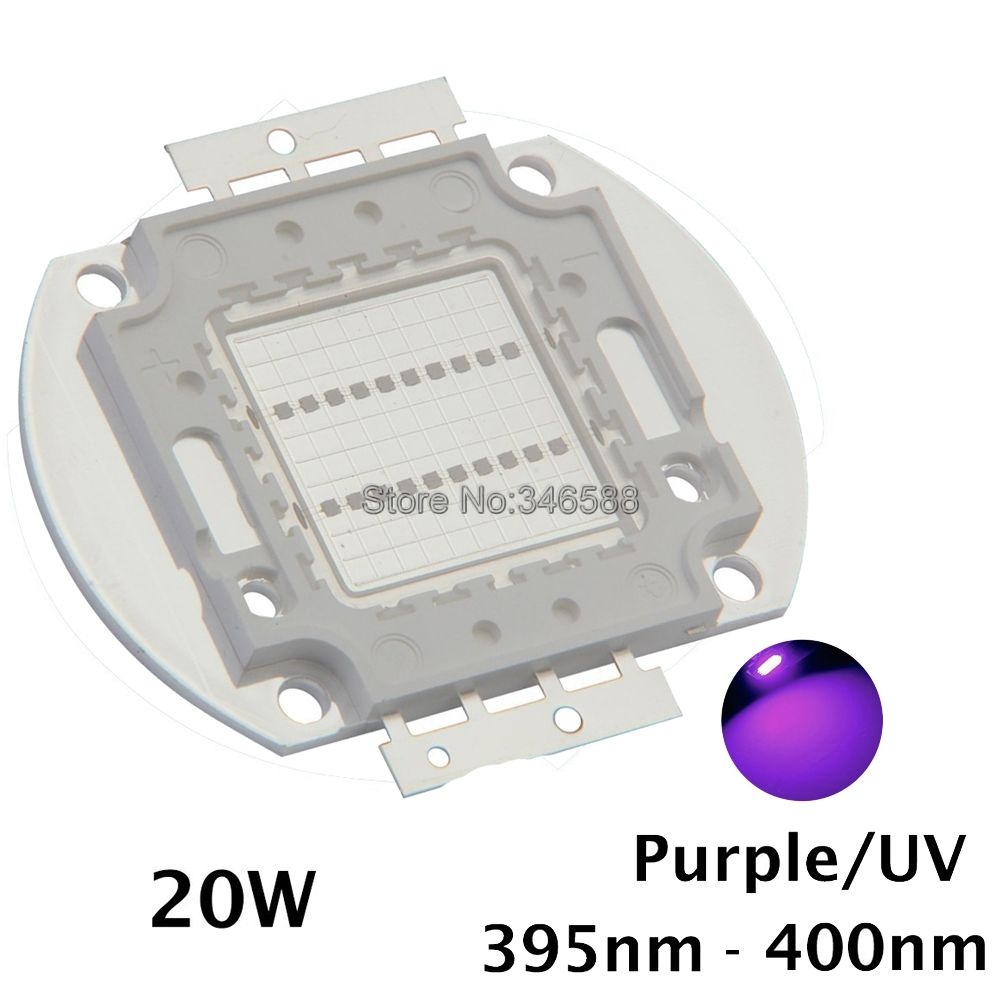 20W High Power LED Ultra Violet UV Light Chip 365nm-370NM,380nm-385nm,395-405nm,420nm-425nm DIY COB Light Source Epileds 42Mil new epileds 45mil high power 100w cob uv 395nm 400nm led chip diode purple ultra violet light for currency verification medical