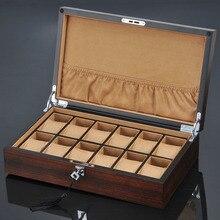 Новый деревянный органайзер для часов с 12 отделениями, роскошная Подставка под часы, чехол, деревянный чехол, деревянные ящики для хранения с замком