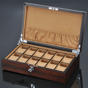 Image 1 - New 12 Slots Wooden Watch Organizer Luxury Watches Holder Case Wood Jewelry Gift Case Wooden Storage Boxes With Lock