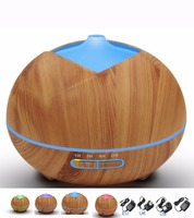 400ml Ultrasonic Air Humidifier With Wood Aroma Essential Oil Diffuser Grain 7Color Changing LED Lights For