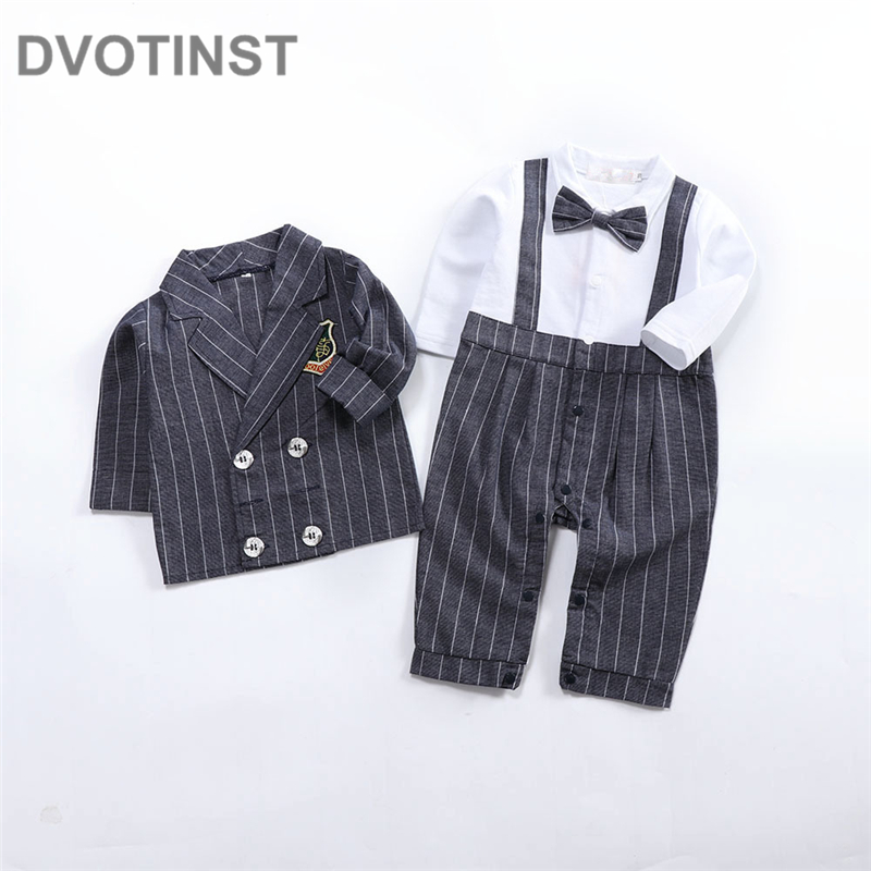 Dvotinst Baby Boys Clothes Striped Gentleman Bow Tie Romper+Coat 2pcs Set Outfits Infant Wedding Jumpsuit Party Birthday Costume