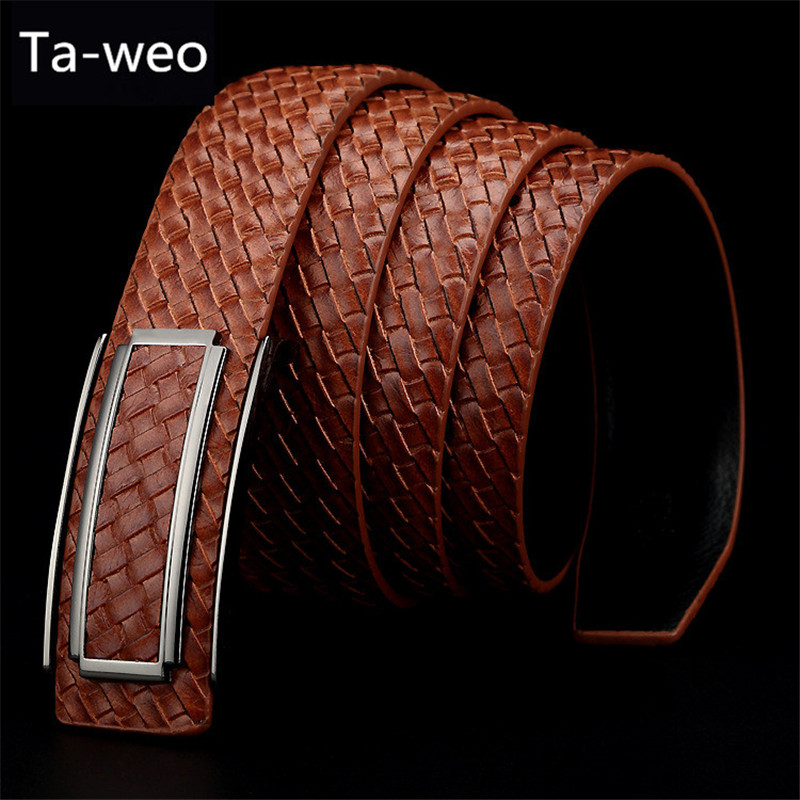 Hot Sale Fashion Men Genuine Leather Belts, Woven Striped Cowhide Waistband Designer Belts Men High Quality, Smooth Buckle Strap