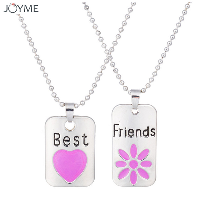 2017 New Style Fashion Long Necklace Enamel Pink Heart Friendship 2 Pcs Best Friend Necklaces & Pendants Share With Your Friend image