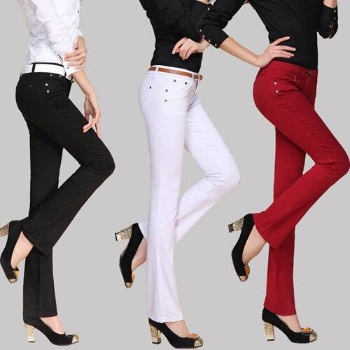 2019 Women Flare Pants Mid Rise Skinny Long Trousers Office Lady OL Slim Flared Pants Business Women Sexy Immitation Denim Pants