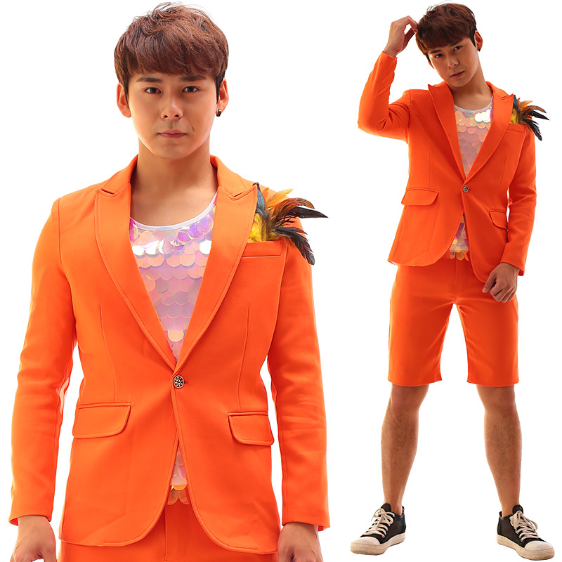 Orange Single Buckle Slits <font><b>Men</b></font> <font><b>Suits</b></font> <font><b>Shorts</b></font> Set Nightclub Male Singer Costume Unique Individuality Slim Stage Wear image