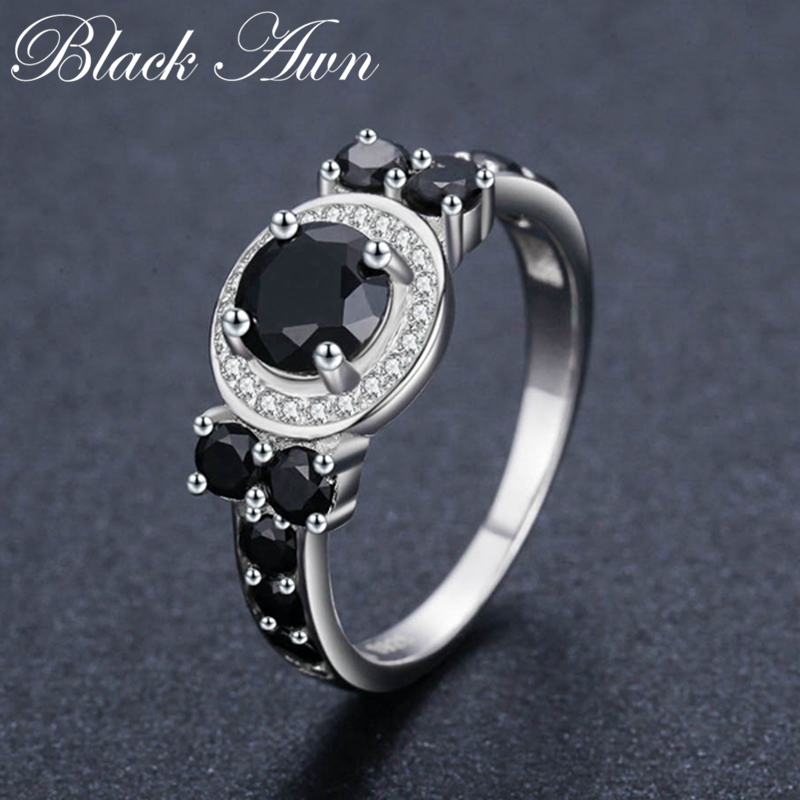 Cute 3.4g 925 Sterling Silver Fine Jewelry Round Bague Black Spinel Wedding Rings For Women Girl Party Gift C470