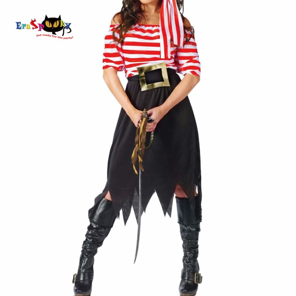 Kvinnor Piratdräkt Tjej Crew Kostym Halloween Kostymer Pirat Cosplay Kortärmad Striped Party Dress Kjolar för Lady