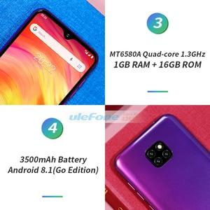 Image 4 - Ulefone not 7 Smartphone 6.1 inç 1GB RAM 16GB ROM MT6580A dört çekirdekli 3500mAh yüz kimlik üç arka kameralar Android 9 cep telefonu