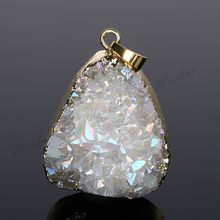 DP113 New Trendy Opal White Titanium Geode Druzy Pendant Irregular Quartz Crystal Drusy Stone Pendant for Necklace 39*30mm