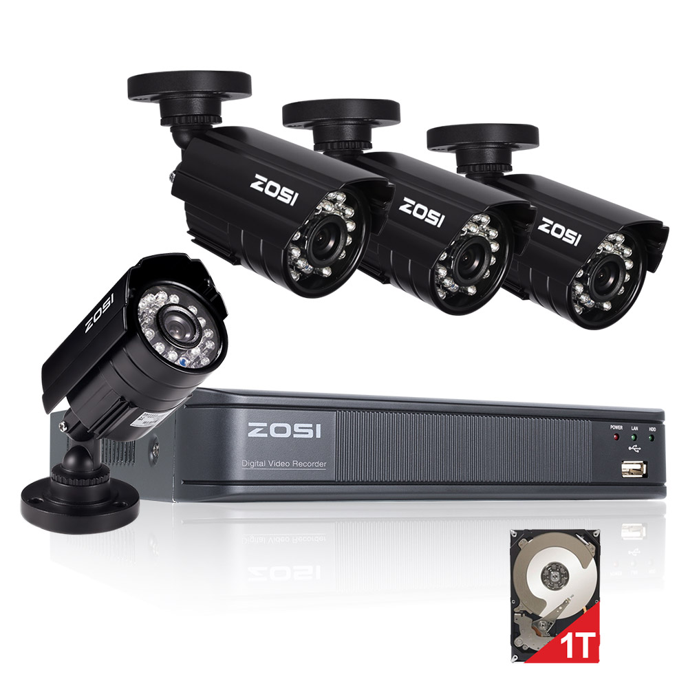 ZOSI HD 720P 8CH CCTV System DVR 4PCS 1280TVL IR Outdoor Video DVR Security Camera System 8 Channel Surveillance Kit zosi 8ch cctv system 8ch network tvi dvr 4pcs 1280tvl ir weatherproof home security camera system surveillance kits