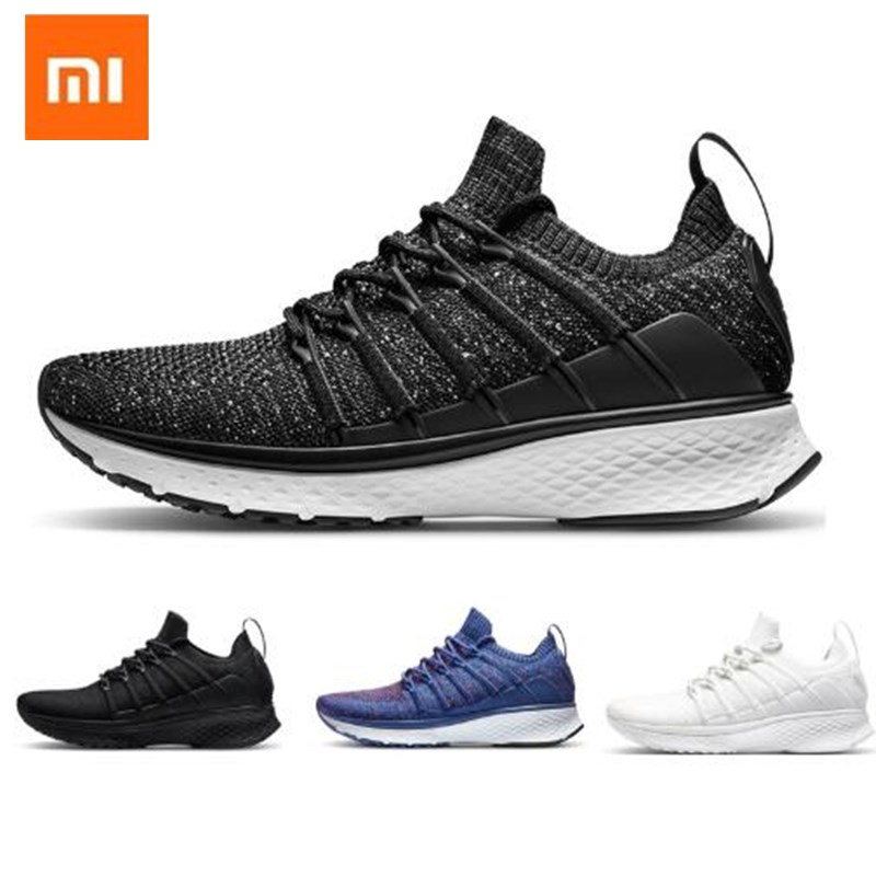 En Stock Xiaomi Mijia smart Sneaker Sports 2 Uni-moule Techinique nouveau système de verrouillage en os de poisson élastique Vamp à tricoter pour homme