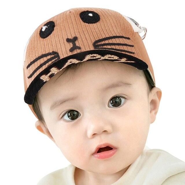 41f64870 Bebé de dibujos animados Tapa Orejas de Gato Bordado de Algodón Tapa  Sombrero Sólido para Niñas ...