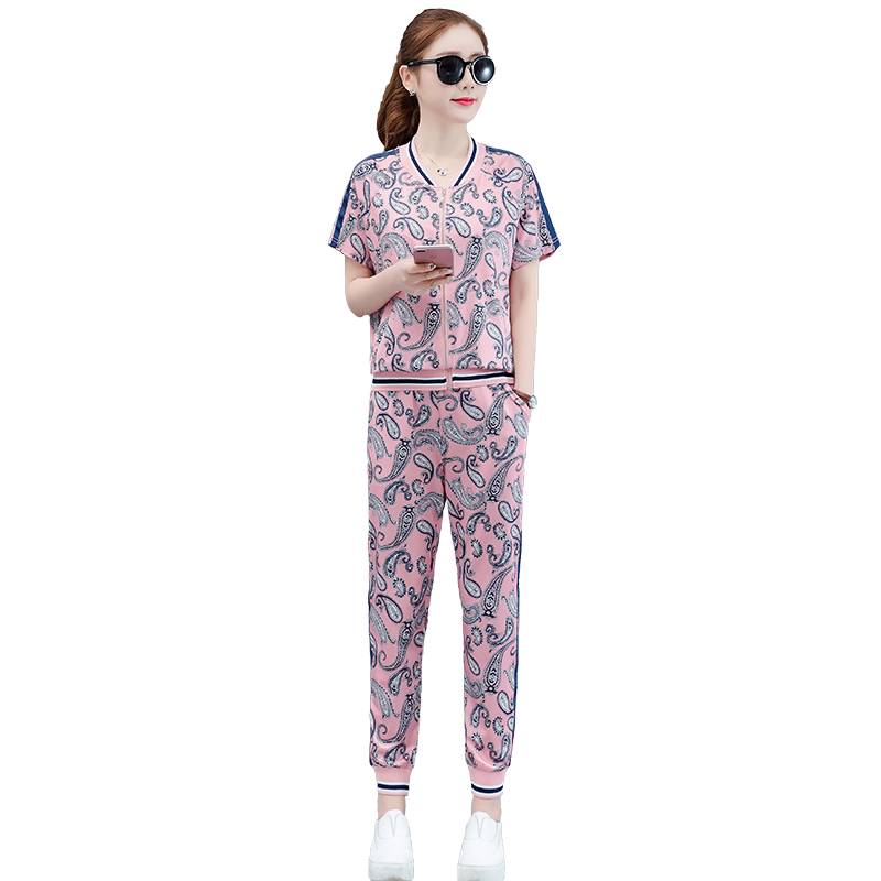 Pink Outfits Tracksuits for Women Plus Size Big 2 Piece Sets 2019 Summer Sportswear Co ord Set Wide Pants Suits and Top Clothing in Women 39 s Sets from Women 39 s Clothing