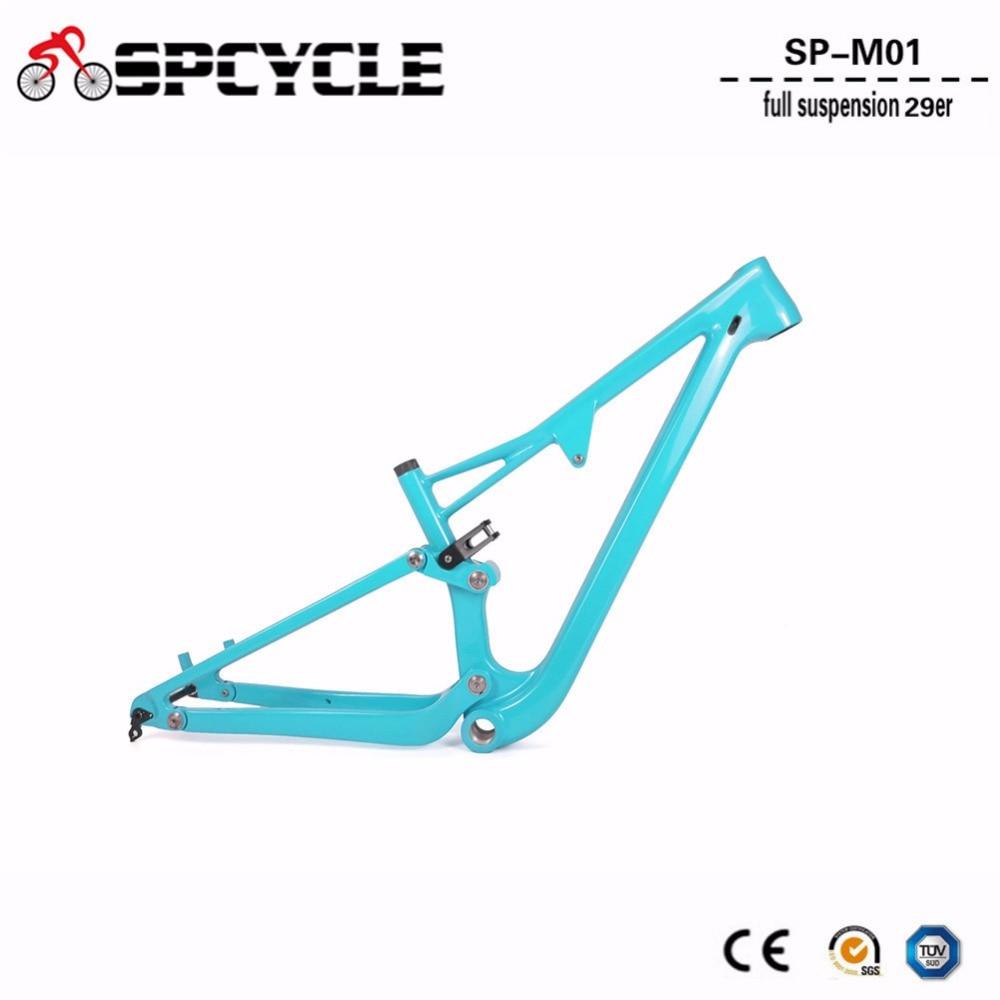 2019 T1000 29er Full Suspension Mountain MTB Bicycle Bike Carbon Frames Framesets BSA 68mm Thru Alxe 142*12mm 15