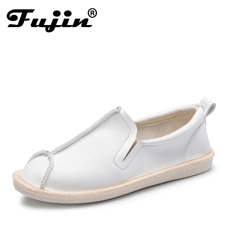 Fujin 2018 Spring Summer Women Loafers Shoes Round Toe Flats Shoes for Woman Casual Soft Female Slip on Shoes Driving Footwear cresfimix zapatos women cute flat shoes lady spring and summer pu leather flats female casual soft comfortable slip on shoes