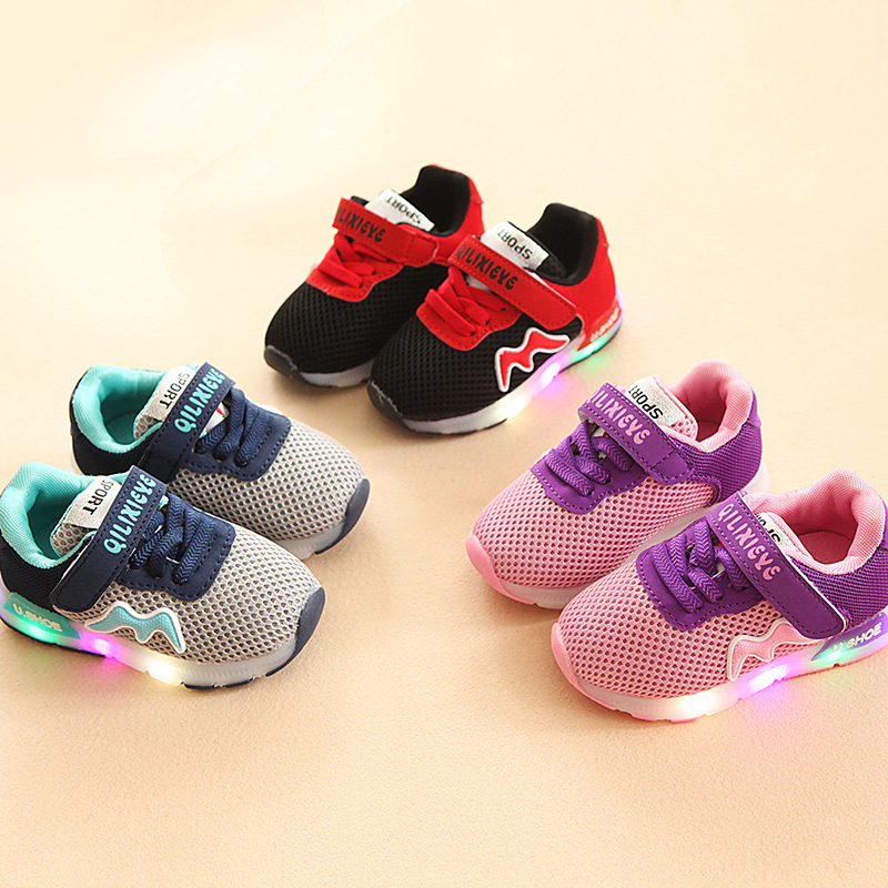 2017 New Fashion high quality lighted Cool children shoes hot sales casual baby girls boys shoes kids lovely cute sneakers