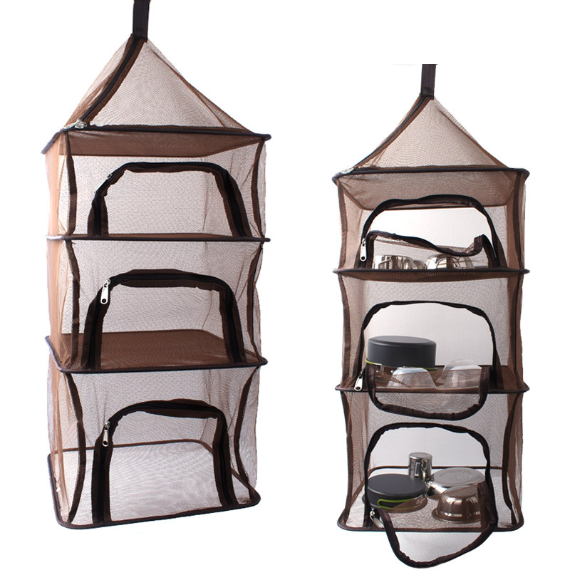 4 Layers Outdoor Folding Hanging Mesh Storage Basket Fruits Drying Rack Fish Dry Net For Camping Dryer Bag