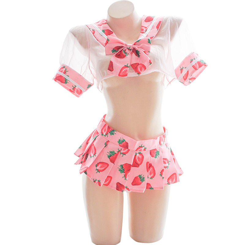 Sexy New Anime Girl Kawaii Strawberry Printed Sexy Pink Uniform Women's Transparent Sailor Suit Cosplay Cute Tops+Miniskirt Set