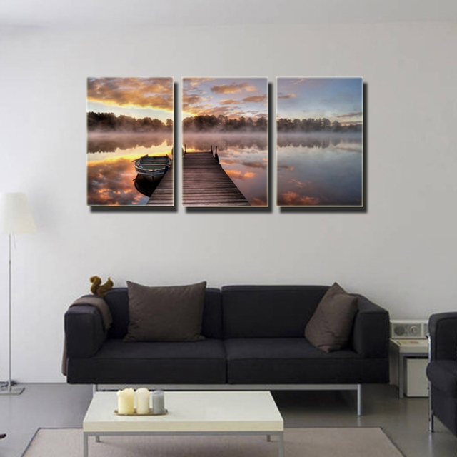 seascape paintings on canvas 3 panels modern wall art pictures colorful cloud dock boat