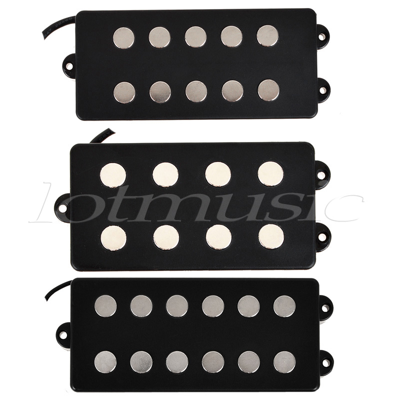 Kmise Different Black 4 5 6 String Bass Guitar Pickup Humbucker For Music Man Bass Coil Tap Set of 3 kmise electric guitar pickups humbucker double coil pickup bridge neck set guitar parts accessories black with chrome gold frame