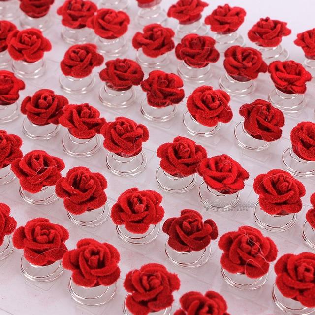 12pcs Wedding Bridal Hair Pins Clips Twists Coils Rose Flower Swirl