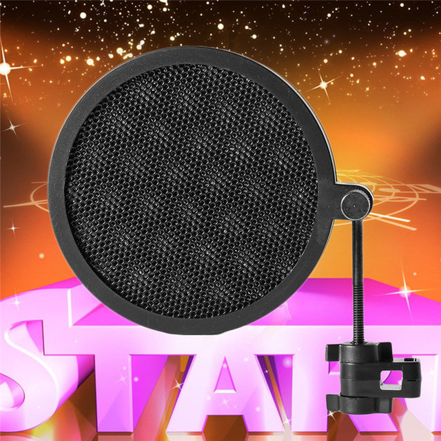 Mic Pop Filter PS-2 Double Layer Studio Microphone Mic Wind Screen Pop Filter Swivel Mount Mask Shied For Speaking Recording