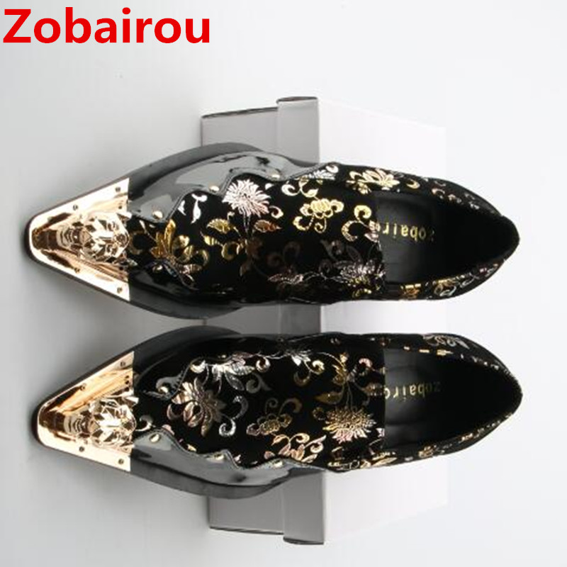 Zobairou zapatos hombre genuine leather mens shoes slip on black spiked loafers oxford shoes for men sapato social hidden heels zobairou sapato social oxford shoes for men genuine leather gold dress shoes men flats spiked loafers wedding shoes