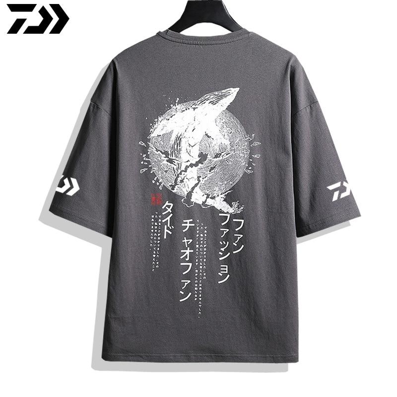 de Manga Curta Anti-UV Pesca T-Shirt de Algodão Purificado