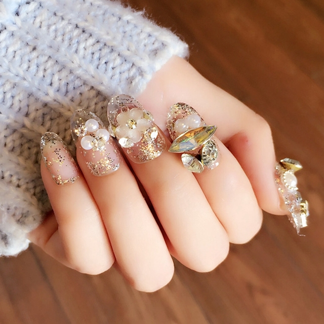 Wedding Clear Fake Nails Glitter Sequins Flower Designed Nail Art