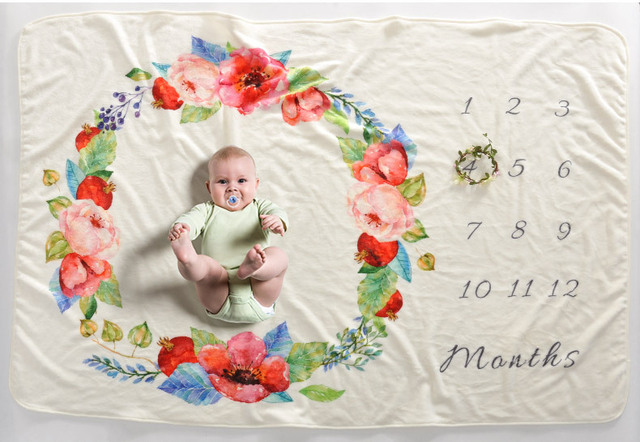 LIFE MAGIC BOX Soft Flannel Blanket New Born Baby Pic Photoshoot Backdrops Infant Development Milestones Backgrounds