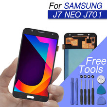 LCD display for Samsung galaxy j7 neo display lcd screen digitizer assembly for galaxy j7 j701f j701m with lightness adjustable смартфон samsung galaxy j7 neo black sm j701f