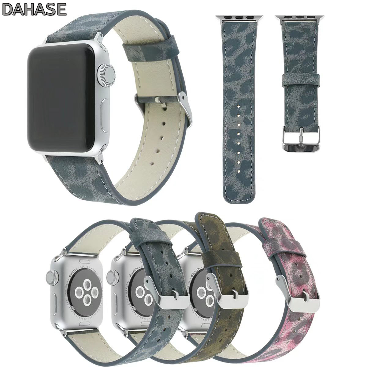 DAHASE Brown Gray Pink Leopard Leather Wrist Strap for Apple Watch Band Series 1/2/3 Bracelet for iWatch Strap 42mm 38mm