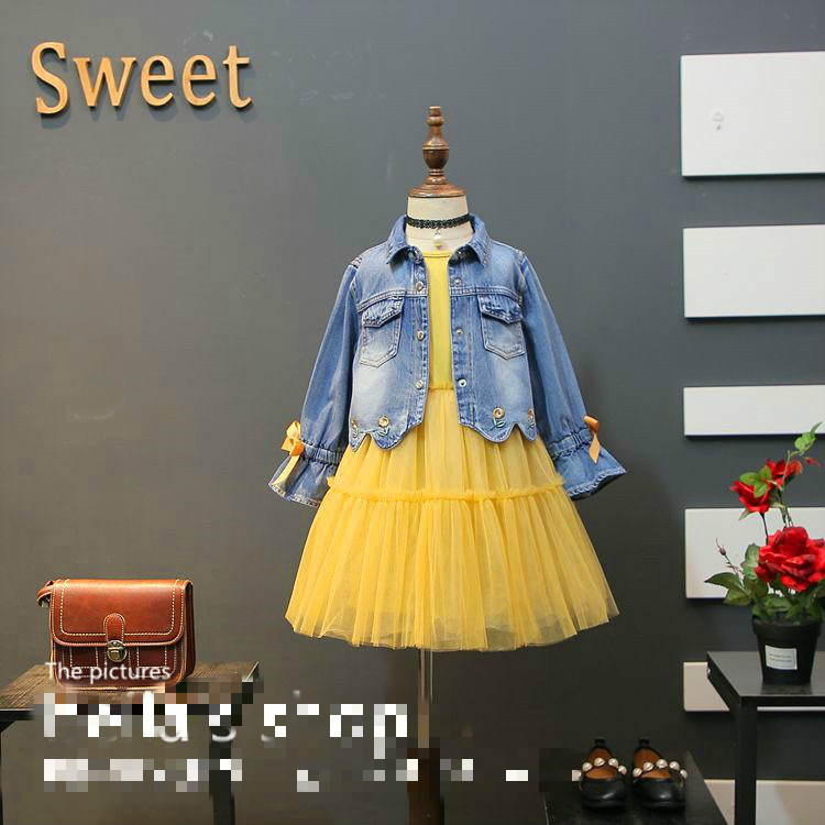 2018 spring new Korean version of the sweet girl vest skirt with bow tie denim jacket two sets 2016 spring new pattern korean children s garment girl baby lace back will bow dress girl jacket