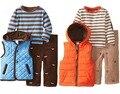 New Baby Boy Chaleco camiseta Encapuchada de los Pantalones 3-piezas Conjunto de Bandas Pantalones De Pana marrón Sasual Traje Niños Otoño Primavera Ropa 2 t 3 t